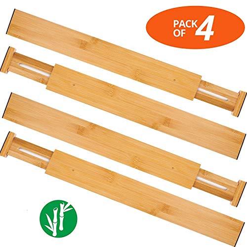 Schubladenpartition Schubladentrenner, 4er-Set Bambus Schubladenteiler Verstellbar Drawer Dividers Flexible Schubladenorganizer für Küche, Kommode, Schlafzimmer, Baby Schublade, Bad,Schublade-Teiler