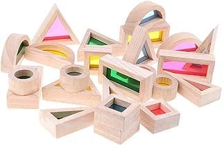 Perfeclan Colorful Wooden Acrylic Rainbow Blocks Construction Building Toy Set (24pcs)