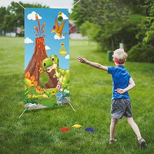 FORMIZON Werfen Spiele, Dinosaurier Party Lieferungen Dekorationen Werfen Spiele mit 6 Sitzsäcken, Spaß Sitzsack Spiel Sets für Kinder Party Dekoration Outdoor Fun Aktivitäten