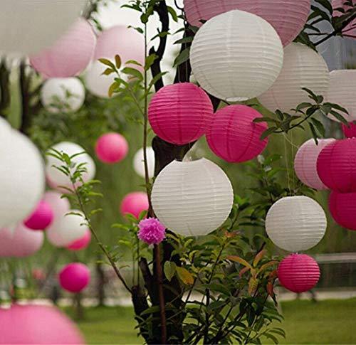 EQLEF Lanternes Rondes de Papier, 10 Morceaux de 8 Pouces Abat-Jour en Papier pour des décorations de fête de Noël d'anniversaire de Mariage - Blanc et Rose Rouge