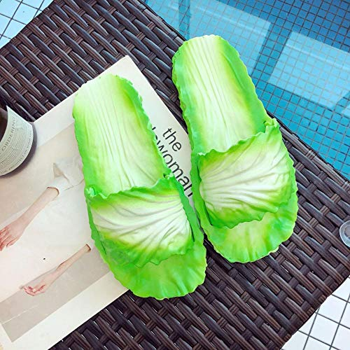 Cxypeng Dusche Badeschuhe Schlappen,Kreative Kohl-Hausschuhe für Frauen, personalisierte rutschfeste Casual-Sandalen für zu Hause-Green_42-43,Sommer Flach Dusch-& Badeschuhe