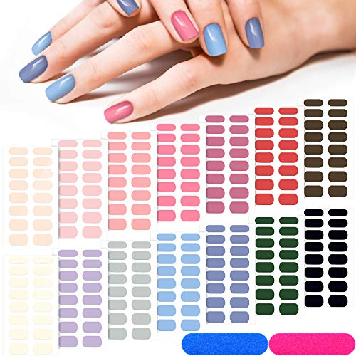 14 Sheets 224 Pieces Glitter Solid Color Nail Polish Strips Stickers Self-Adhesive Full Nail Wraps Decals Strips Manicure Nail Art with 2 Pieces Nail Files for Women Girls DIY Nail Art (Pure)