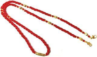 MANMORA Traditional Gold Plated Copper Brass Stylish Red Golden Chain Tanmaniya Chain for Women[Handmade]24 Inches Chain