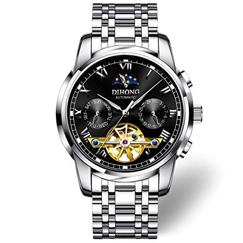 ERLIANG Uhr Herren Automatik Mechanik Uhr Herrenuhr Hohl Mode Trend Leuchtend wasserdicht Tourbillon,C