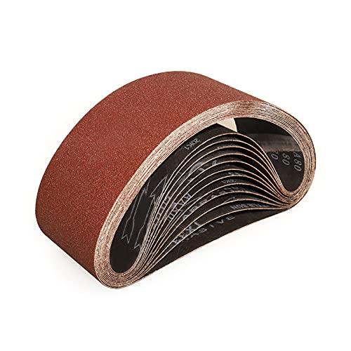 Sruhrak Nastri Abrasivi 100 x 610 mm - Grane 60 Carta Abrasiva per Levigatrice a Nastro, per Levigare,Limare,Affilare e Rimuovere Metallo/Legno (10 Pezzi)