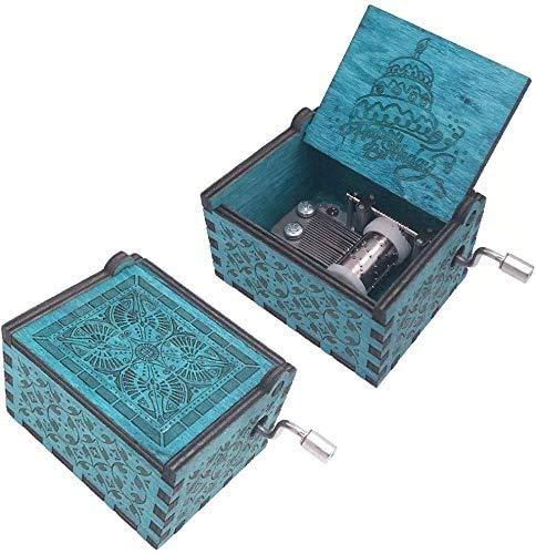 XWYYYH Música de la manivela de la mano 18 notas Caja de música de feliz cumpleaños grabada de madera, antigüedades talladas talladas pequeña caja musical caja de música feliz cumpleaños caja de músic