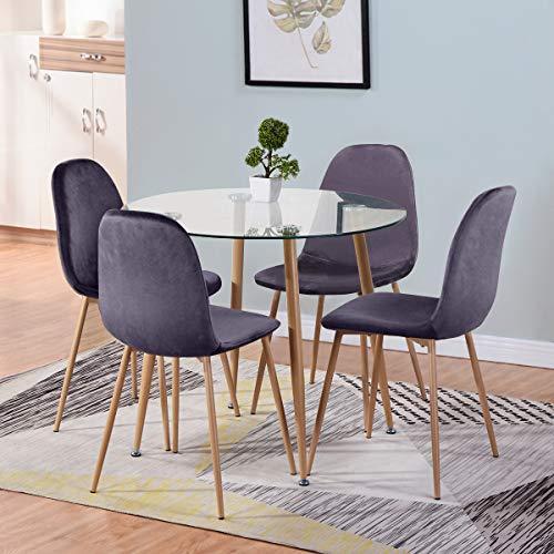 GOLDFAN Mesa de Comedor Redonda de Cristal y 4 sillas de Madera Estilo Mesa de Cocina y sillas de Terciopelo para Comedor (Todo Gris)