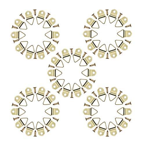 YFaith 50 Stück Bilderrahmen Aufhängehaken, Dreieck Haken, Bilderaufhänger, Haken Bilderrahmen, Hängehaken Bilder, Mit Schrauben, für Haus Büro (Golden)