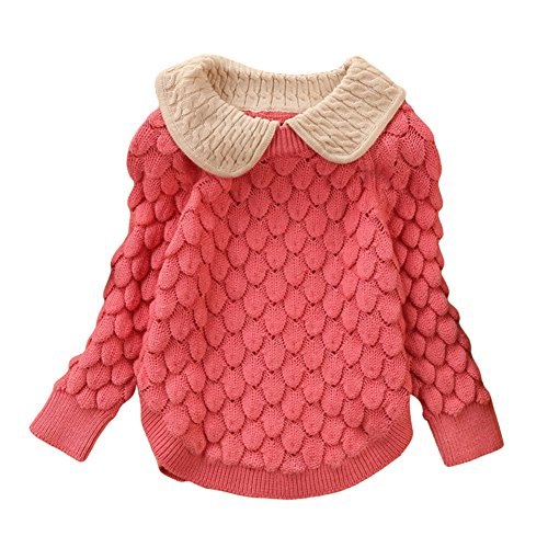 LOSORN ZPY Toddler Baby Girl Cable Knit Sweater Lovely Kid Pullover Sweatshirt Pink 3-4T