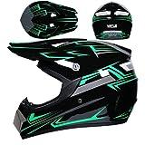 Downhill - Casco de motocross, casco de cross, casco negro y verde, juego con gafas (4 unidades), casco completo para bicicleta de montaña, casco de resistencia para ATV Downhill (S (54-55 cm)