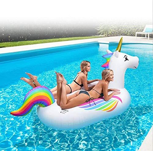 MSFX Regenbogen Pegasus Aufblasbar Boje Kreativ Komisch Schwimmende Liege Schwimmendes Bett Tragbar Kids Adults Luftmatratze Sommer Draussen Schwimmende Insel Schwimmendes Partyspielzeug Am Strand
