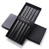 Buyer Star ステンレス箸 韓国箸 5膳組 ブラック 23cm 高級感 平たい形状設計 18-8ステンレス製 チタン仕上 先端四角形状 エコ 抗菌 食洗機対応