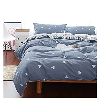 Uozzi Bedding 3 Piece Duvet Cover Set King, Reversible Printing with Brushed Microfiber, Lightweight Soft, Easy Care, Simple Comforter Cover 3PC Bedding Set, 30-day Free Return(Gray-blue, King)