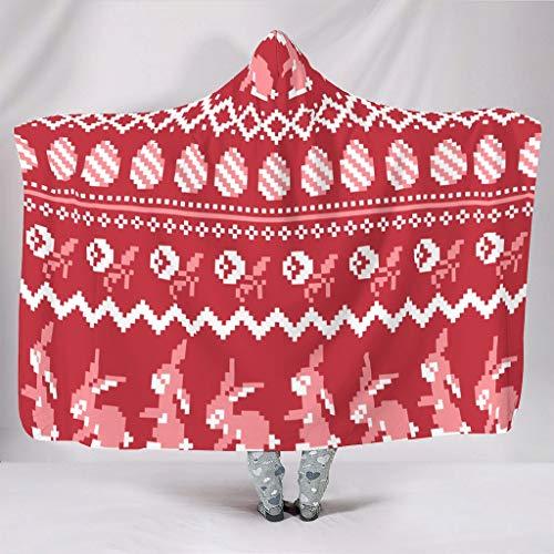 AXGM Manta con capucha para niños y niñas, conejos rojos, huevos y conejos, impresión 3D, cómoda manta para sofá o sillón, color blanco, 130 x 150 cm