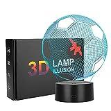 Coquimbo 3D LED Illusion Football Veilleuse, 7 Couleurs Changeantes LED Illusion Veilleuse pour Chambre Deco Interrupteur Tactile et Télécommande (Football)