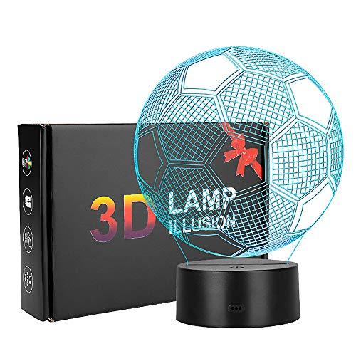 3D Optical Illusion Lampe, Coquimbo Fußball 3D Illusion Licht, 7 Modelle Touch Control mit Ladekabel, Für Schlafzimmer Home Hochzeit Geburtstag Valentine Geschenk Romantische Atmosphäre