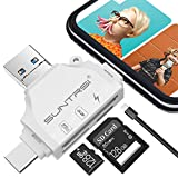 SD/Micro SD Card Reader for iPhone/ipad/Android/Mac/Computer/Camera,Portable Memory Card Reader 4 in 1 Micro SD Card Adapter&Trail Camera Viewer Compatible with TF and SD Card