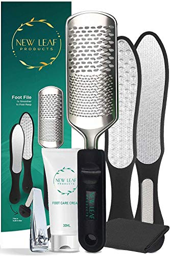 Foot File Hard Skin Remover Foot Exfoliator Pedicure Hard Skin Remover - Includes Foot Cream, Foot Grater + Nail Filer & Clipper + Smoother + E-Book Foot Scrubber Stainless Steel Foot Care Scrub