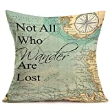 Asminifor Throw Pillow Covers Cotton Linen Vintage Compass Map with Famous Proverb Not Who Wander are Lost Decorative Pillowcase for Home Sofa Bedding Couch Pillow Covers 18 x 18 Inches (Lost-Map)