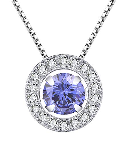 YL Round Halo Necklace Sterling Silver Dancing Diamond Solitaire Pendant Round Created Tanzanite/Cubic Zirconia Jewelry for Women