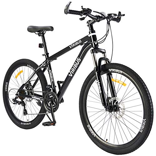 Men's Mountain Bike Hardtail with 26 Inch Wheels, Lightweight Aluminum Frame MTB Bicycle with Dual Disc Brakes, Adult Bike for Men with 100mm Travel Front Suspension Fork (Black2, 24 Speed)