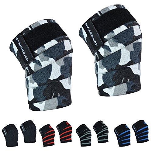 GYMGEARS Kniebandage (2er Set mit Klettverschluss) Knee Wraps 200cm - Profi Knie Bandagen für Kraftsport, Bodybuilding, Powerlifting, Crossfit & Fitness - Für Frauen & Männer geeignet