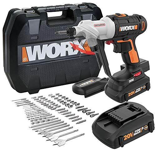WORX WX176L.1 Switchdriver 2-in-1 Cordless Drill and Driver with Rotating Dual Chucks and 2-Speed Motor with Precise Electronic Torque Control Kit (67 Piece)