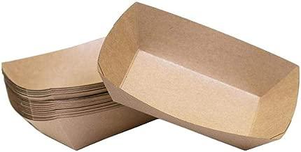 Bonwete 10 Pcs Kraft Paper Food Tray Cardboard Trays Disposable Fast Food Packaging Box for Hotdog Snacks Hamburger Sausages