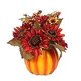 Künstliche Sonnenblume Mit Stielbeere Kürbis Blumentopf Pflanzer Pflanzen Kürbispflanze Mit Tändig Für Halloween Tischdekoration Haus Balkon Ornament