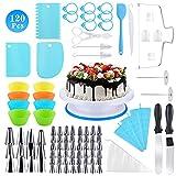 120PCS Decoración de Pasteles Kit, Plato Giratorio para Pasteles, Torta Giratoria con Boquillas...