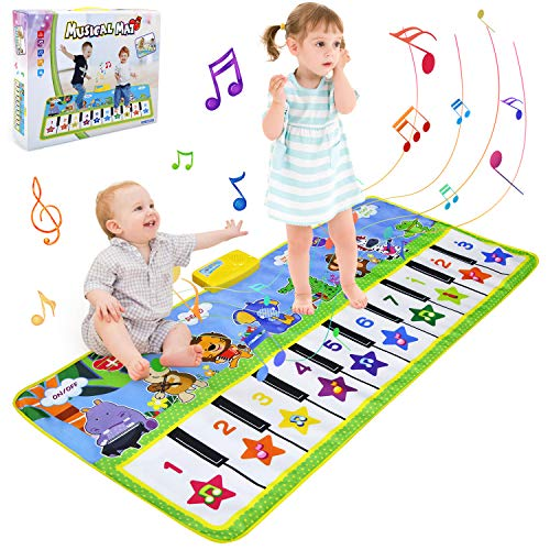 BelleStyle Tappeto Musicale Bambini, 135x59cm Grande Tappetino Pianoforte Bambino, Tappetino da Ballo e Gioca Musicale Tocca Tastiera Playmat Tappetini Giocattoli Educativi per Bambini