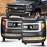 Anzo USA 111373 Projector Headlight Set Clear Lens Black Housing Amber Reflector Pair w/Plank Style Back Not For Use w/Factory LED Headlights w/o HID Kit Projector Headlight Set
