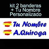 Vinilin Pegatina Vinilo Bandera España + tu Nombre - Bici, Casco, Pala De Padel, Monopatin, Coche, Moto, etc. Kit de Dos Vinilos (Azul Oscuro)