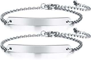 Customize Friendship Bridesmaid Jewelry-Set for 2/3/4/5 Stainless Steel Coordinates Thin Bar Bracelet
