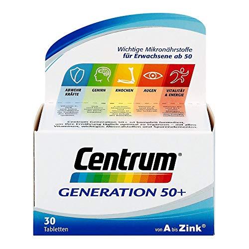 Centrum Generation 50+ – Hochwertiges Nahrungsergänzungsmittel mit Mikronährstoffen – Für Best Ager ab 50 Jahren – Vitamine, Mineralstoffe, Spurenelemente – 1 x 30 Tabletten