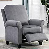 IOMOR Wingback Recliner Chairs for Adults Adjustable Living Room Bedroom Push Back Reclining Chair with Footrest (Gray)