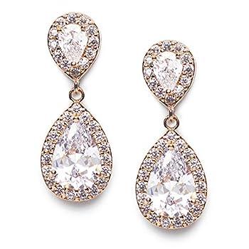 SWEETV Teardrop Dangle Earrings for Brides,Cubic Zirconia Rose Gold Drop Earrings for Women - Prom,Pagegant,Wedding Jewelry