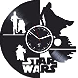 Kovides The Force Awakens, Vinyl Record Wall Clock, Gift for Children, Star Wars, Yoda, Han Solo, Best Gift for Brother, Birthday Gift, Movie, Silent, Wall Clock Modern, Gift for Man