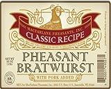 Pheasant Bratwurst- Wisconsin Classic Recipe, 24 brats/ 6 packages/ 4 brats