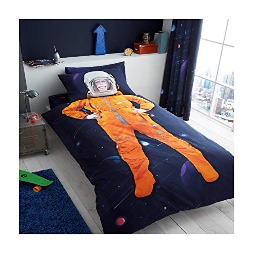 Kids Panel Duvet Cover Set New Children Printed Astronaut Character Bedding Set with Pillow Case Reversible Boys Girls Single Size Bed Quilt Cover Poly Cotton, Space Chimp