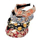 Bandas para la cabeza de patrón para mujer, 4 paquetes de banda de tela mezclada, accesorios para el cabello con nudo (ArchBigRose4)
