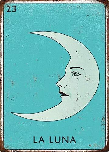 Vintage Tin Sign La Luna Magic Tarot Cards Mythology Moon Psychic Art Decoration Retro Metal Poster for Home Cabin Bar Store Club Farm 12' X 8'