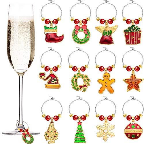 Boao 12 Stück Weihnachten Glas Charme Weihnachten Themen Weinglas Etikette Ringe Weinglas Marker für Weihnachten Party Gefälligkeiten