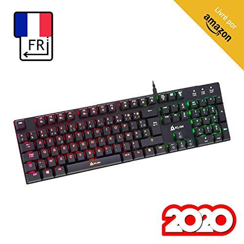 KLIM Dash – NEU – Niedrigprofil mechanische AZERTY Tastatur mit roten Schaltern für kultivierte Professionelle Anwender und Gamer - RGB Farben - Vollständige Anpassbarkeit