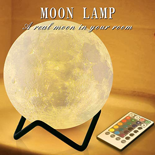 RENOOK 3.15' Moon Lamp, Moon Night Light for Kids with Metal Stand, Timer Remote Control, 16 Colors 5 Brightness, Room...