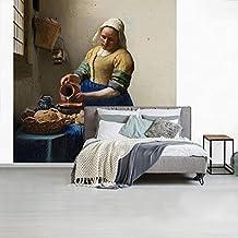 Fotobehang vinyl Oude meesters - Fotobehang Oude meesters - Het melkmeisje - Schilderij van Johannes Vermeer breedte 350 c...