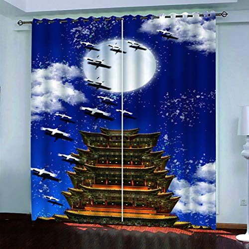 YUNSW 3D Landscape Painting Decorative Curtains, 2-Piece Perforated Curtains, Shading For Living Room, Bedroom, Garden And Kitchen