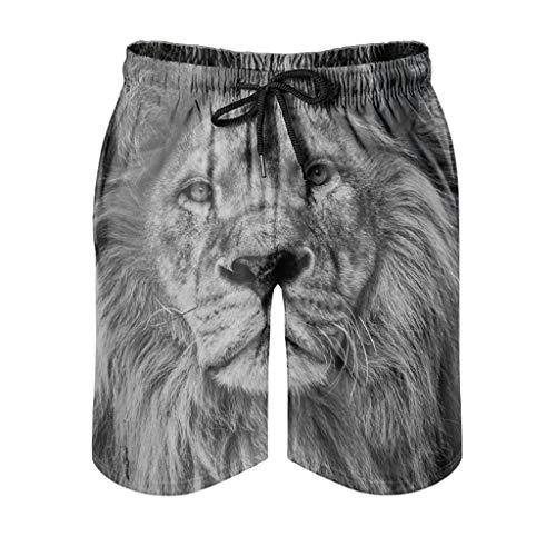 Kikomia - Bañador para hombre, diseño de león gris, impresión artística, ligero, ropa de playa con bolsillos, Hombre, blanco, medium