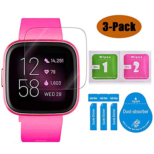 USJee 3-Pack Screen Protector for Fitbit Versa 2 SmartWatch Flexible TPU Film Max Coverage Anti-Scratch HD Clear, Durable Than Tempered Glass