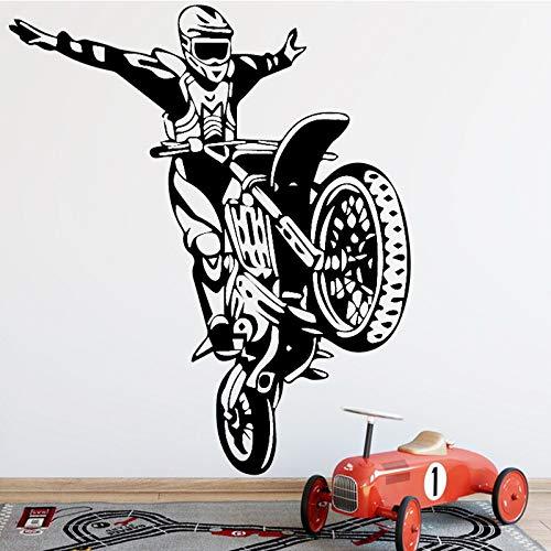 Wopiaol Muursticker voor de slaapkamer, kunststof, wandkunst, motorfiets, stunt, bestuurder, Wallhome XL, 58 cm x 67 cm